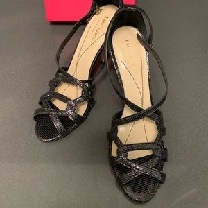 New Kate Spade Black Shiny Strappy Sandals Heels 8